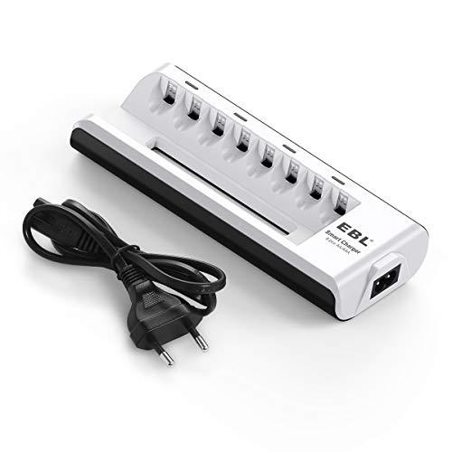 EBL Caricabatterie con 8 Slot per AA e AAA NI-MH Batterie Ricaricabili, Caricatore Intelligente con LED per Pile Ricaricabili