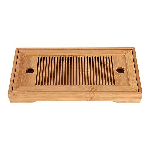 Bandeja de Bambú Tabla de Té Bambú Elegante Bandeja de Desayuno Doble Función para Hogar y Restaurante Mesita Clásica China
