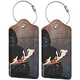 Colorata maschera per gattini Art Blaze Lage Tag Bag PU Leather Valigia Design Travel con copertura posteriore privacy W/loop in acciaio