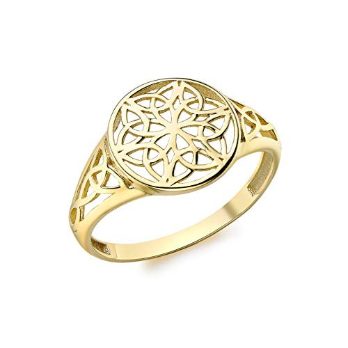 Carissima Gold Anillo con Filigranas Redondo 12mm Oro Amarillo 9 Quilates para Mujer #P