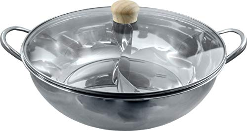 JADE TEMPLE 17105 Stainless Steel Hot Pot Wok with Glass Lid Diameter 34