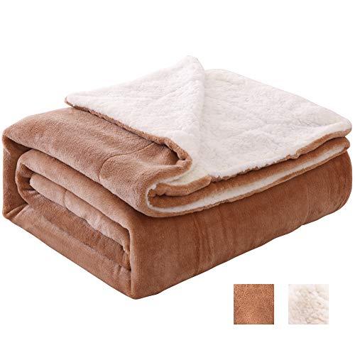 "VOTOWN HOME Sherpa Blanket Warm Blankets for Winter Super Soft Fuzzy Flannel Fleece/Wool Like Reversible Velvet Plush Couch Blanket (Khaki Twin Size 55""x79"")"