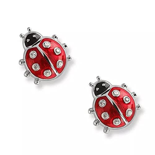 WLLLTY Pendientes Moda 925 Pendientes de botón de Plata esterlina joyería Esmalte Rojo Animal Mariquita pequeños Pendientes de botón joyería