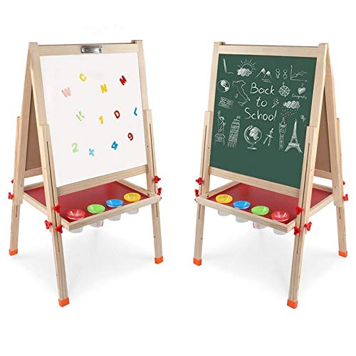 Arkmiido Kids Easel DoubleSided Whiteboard amp Chalkboard Standing Easel with Bonus Magnetics Numbers and Other Accessories for Kids and Toddlers 488 inch
