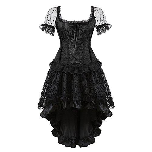 LFFW Corset Goticos Pirata de Encaje Bustier Cors y Falda Corpio Mujer Disfraz Talla Grande (EU(38-40) XL, Negro)