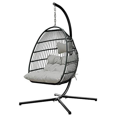 BIIII Sedia a dondolo pieghevole,Stand e cuscino Rattan Wicker Hanging Egg Chair,Sedia amaca per interni esterni camera da letto patio giardino