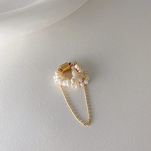 Kein durchbohrter magnetischer Ohrknochenclip-Set, natürlicher Süßwasser-Perlen-Langketten-Supermagnet-Ohrknochenclip für Frauen