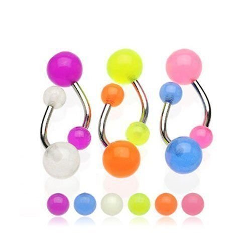 """Surgical Steel Sexy Belly Button Navel Ring Body Jewelry Piercing Mix of 6pc Glow in the Dark Balls Non Dangle 14 Gauge 7/16"""" By Eg Gifts"""