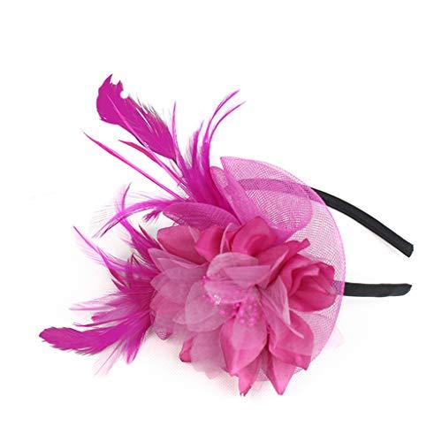 WERVOT Haarreife Künstliche Feder Fascinators Womens Flower Derby Hut für Cocktail Ball Hochzeit Stirnband(Pink,24X12X1CM)