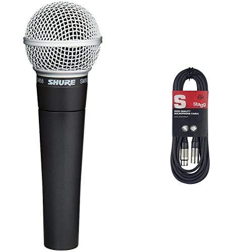 Shure Sm58-Lce Microfono Professionale Dinamico E Cardioide, Senza Cavo & Stagg Cavo di Alta Qualita XLRf a XLRm Plug Microphone, 6 m, Nero