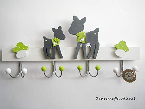 Kindergarderobe Garderobe Reh handgefertigt 4 Doppelhaken Holz grün 40 cm
