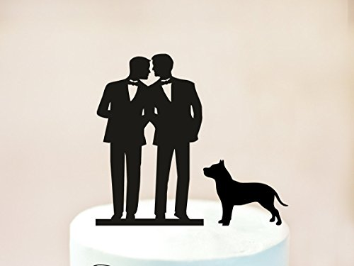 Gay Cake Topper + Dog Same Sex Cake Topper Gay Wedding Cake Topper Gay Silhouette Wedding Cake Topper For Men Mr And Mr With Dog