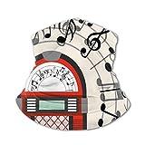 JONINOT Bufanda protectora para el cuello Máscara a prueba de viento-Dibujos animados Antiguo Antiguo Radio Vintage Caja de música Fiesta con notas Ilustraciones