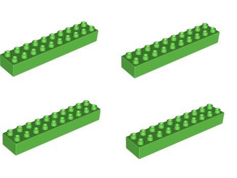 Duplo Lego 4 Rare Grandes Pierres avec Picots 2 x 10 dans Vert Clair – 20 Pierres à Picots – Produit Neuf