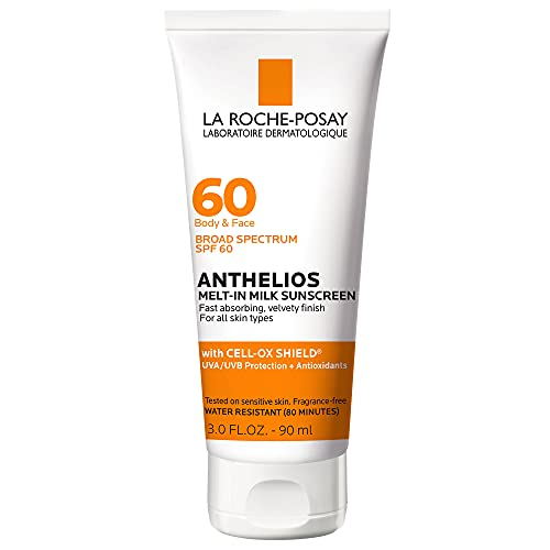 La Roche-Posay Anthelios Melt-In Sunscreen Milk Body & Face Sunscreen Lotion Broad Spectrum SPF 60, Oxybenzone & Octinoxate Free, Oil-Free Sunscreen