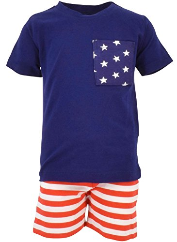 Unique Baby Boys Patriotic 4th of July 2-Piece Summer Outfit (9 Months, Blue)