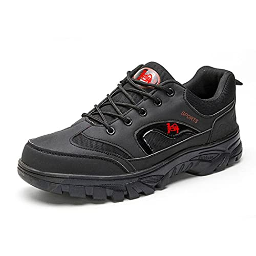 huasa Zapatillas Impermeables de Senderismo Trekking Hombre,Botas de Montaña Antideslizantes Al Aire Libre Zapatos de Deporte cálidas y con Parte Superior de Piel,Black-43
