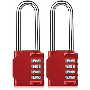 BeskooHome - Candado de combinación de aleación de zinc de 4 dígitos para puerta de valla de cobertizo, color rojo