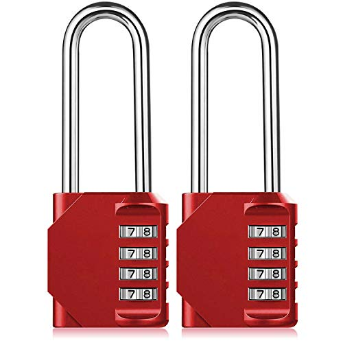 Combination Padlock Heavy Duty Lock - 2 Pack BeskooHome 6.5cm Long Shackle Lock 4 Digit Resettable Combination Lock for School, Gym, Outdoor Shed Locker, Hasp Cabinet, Gate (Red)