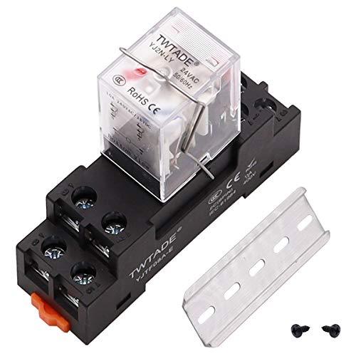 TWTADE - Relé de potencia electromagnética de 8 pines DPDT (2NO 2NC) - Relé indicador LED con bobina con enchufe YJTF08A-E/riel ranurado de aluminio/tornillo/gancho de base YJ2N-LY-AC 24 V