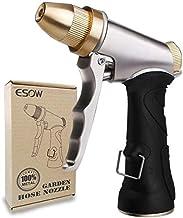 ESOW Garden Hose Nozzle 100% Heavy Duty Metal, Full Brass Nozzle & ABS Non-Slip Ergonomic Grip, 4 Watering Patterns, High ...