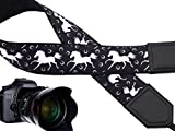 Intepro White Horses Camera Shoulder Neck Strap Belt - Quick Release and Safety Tether - Adjustable Camera Shoulder Sling Strap for All DSLR/SLR and mirrorless Cameras