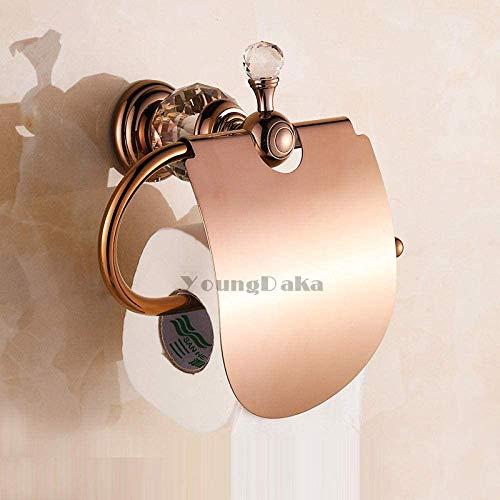 Nfudishpu Gewerbliche Toilettenpapierhalter Toilettenpapierhalter Kristall Messing Gold Papierrollenhalter Toilettenpapierhalter Badezimmerzubehör Badzubehör Papaer Storage @Rose_Golden