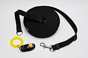 Chien Obéissance kit de formation avec laisse d'entraînement et Clicker Long 15m/15,2m plomb pour animal domestique et rappel de chiot Obéissance d'entraînement avec clicker