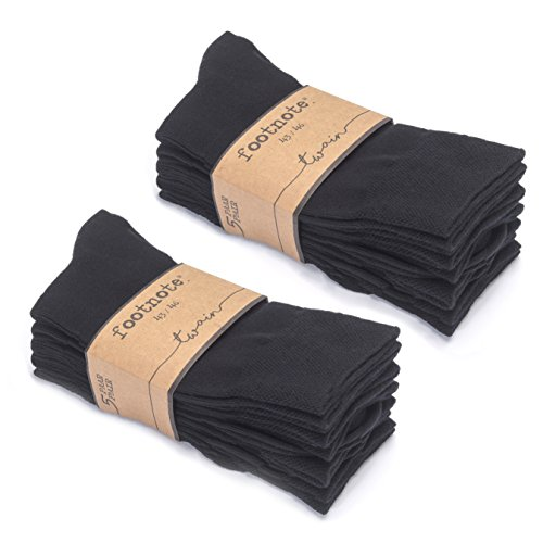 FOOTNOTE Herrensocken Damensocken Socken Herren Damen Baumwollsocken Socks Business, 43-46, Schwarz 10 Paar