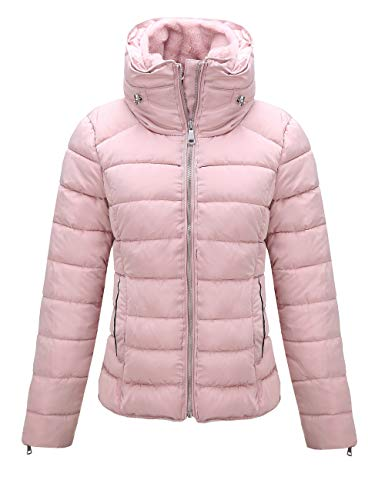 Giolshon Abrigo acolchado ligero para mujer, relleno de algodón, 1712019, color rosa L