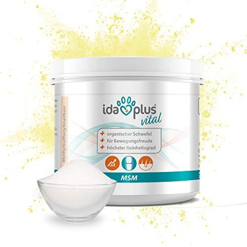 Ida Plus – MSM Pulver – Premium Qualität mit 99,9% Reinheitsgrad – MSM Schwefel-Pulver für die Bewegungsfreude – Organischer Schwefel in Lebensmittelqualität – für Hunde, Katzen & Pferde – Vegan 150 g