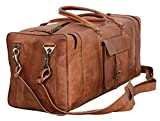Leather Duffel Bag 28 inch Large Travel Bag Gym Sports Overnight Weekender Bag by Komal's Passion Leather (Brown)
