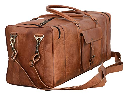 Leather Duffel Bag 28 inch Large Travel Bag Gym Sports Overnight Weekender Bag by Komal's Passion Leather