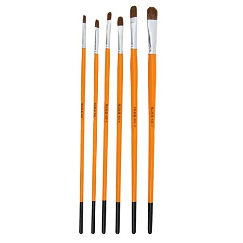 6 piezas de pincel de pintura de pelo de lobo puro, pincel de pintura de acuarela Gouache, suministro de artista para pintura al óleo y acrílico de acuarela Gouache