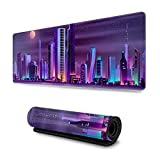 Modern City Night Landscape Neon Gaming Mouse Pad XL, Extended Large Mouse Mat Desk Pad, Stitched Edges Mousepad, Long Non Slip Rubber Base Mice Pad, 31.5 X 11.8 Inch