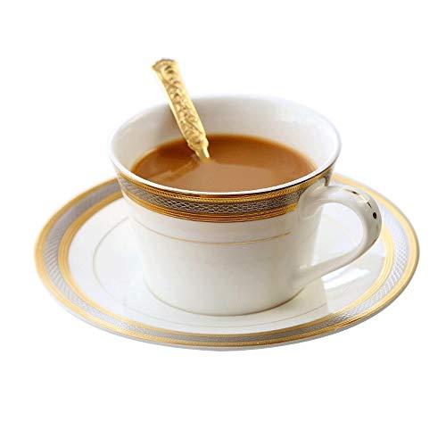 YFGQBCP Cerámica Taza de café de la Tarde Taza de té Inglés Europea Espresso Copa de Gama Alta a su país con la Taza de té Elegante de la Flor de té Juego de vajilla