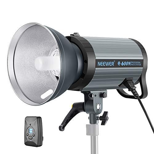 Neewer 600W GN82 Estudio Luz Estroboscópica Flash Monoluz con Trigger Inalámbrico 2,4G y Lámpara Modelado Recicle en 0,01-1,2S Montaje Bowens para Foto Estudio en Interiores(Q600N)