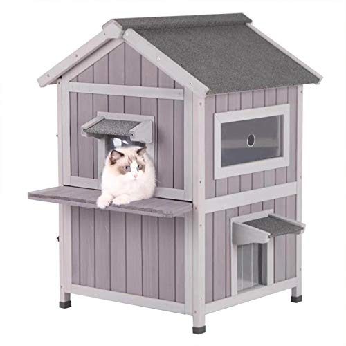 Aivituvin Cat House Outdoor Cat Shelter Weatherproof, 2 Story Kitty House Rainproof Cat Condo for Outside - Escape Door