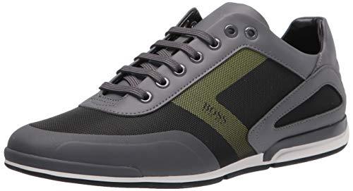Hugo Boss mens Sneaker, Stone Grey/Black/Olive Green, 6 US