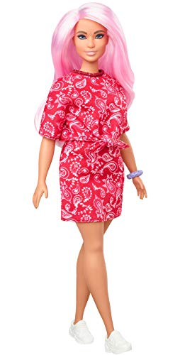 Barbie Fashionistas Doll with Long Pink Hair Wearing a Red Paisley Top \& Skirt, White Sneakers \& Scrunchie Bracelet, Toy for Kids 3 to 8 Years Old
