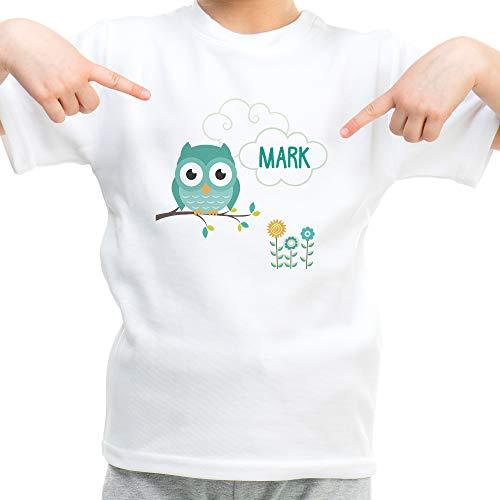 LolaPix Camiseta Búho Personalizada con Nombre/Texto. Regalos Infantiles Personalizados. Varios Diseños a Elegir. Tacto Algodón. Búho