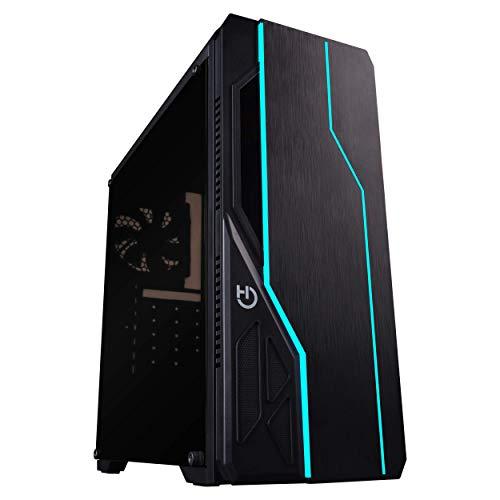 Hiditec V10 RGB Tower zwart - PC behuizing (toren, PC, ABS synthetisch, acryl, metaal, SECC, zwart, ATX, Micro ATX, Spel)