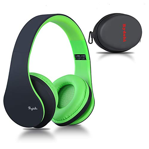 Bluetooth Over Ear Kopfh?rer, Rydohi Wireless Stereo Headset Klappbares Kopfh?rer mit Integriertem Mikrofon/FM Radio /MP3 Player f¨¹r iPhone, Android, PC-Schwarz Gr¨¹n