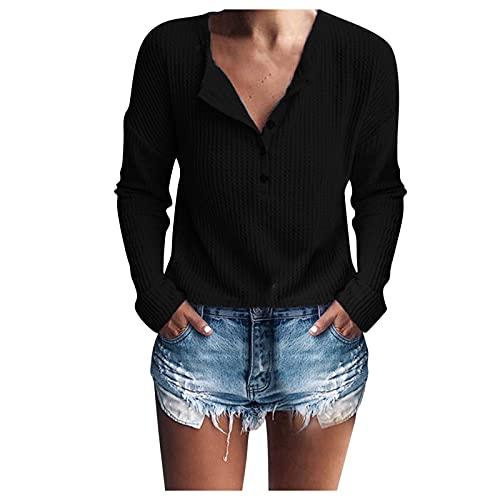 AEftrior Langarmshirt Damen Pullover V-Ausschnitt Knopfleiste Oberteile Frau Solid Herbst Warm Pullover Elegant Schlank Bluse Causal Lose Sweatshirt Outdoor Sweatjacke S-L2