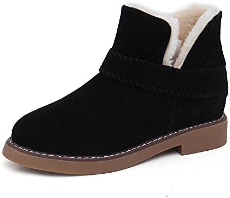 WYMBS Women's shoes Winter Keep Warm Non-Slip Short Tube Belt Buckle Snow Boots,Black,37