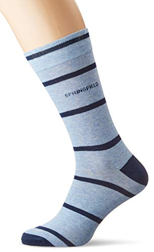 Springfield Rayas Basicas-c/16 Calcetines, Azul (Light_Blue 16), One Size (Tamaño del fabricante: U) para Hombre