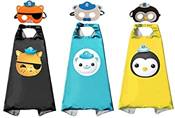 3 Sets Octonauts Cosplay Dress Up Costumes Capes & Masks for Kids Halloween Party Favor