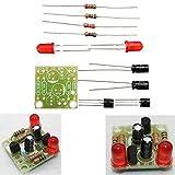 JISHIYU -Q 10 piezas DC 3-14V DIY simple LED rojo linterna circuito kits DIY circuito electrónico oscilatorio placa PCB + componentes electrónicos + instrucciones