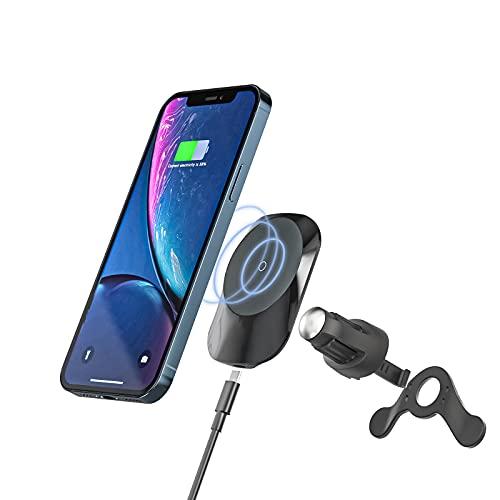 E EGOWAY Soporte magnético inalámbrico para cargador de coche, soporte de carga rápida Qi de 15 W, compatible con i-Phone 12/12 Mini/12 Pro/12 Pro MAX Samsung S10 S9 (negro)