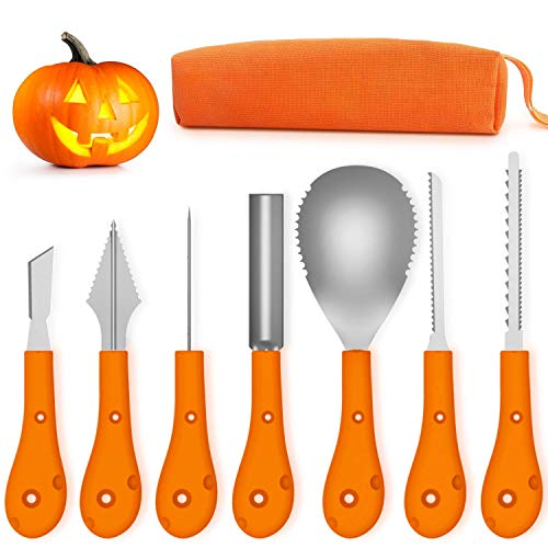 T98 Halloween Kürbis Schnitzset, Edelstahl Kürbis Schnitzwerkzeuge 7-teiliges Set, Zum Aushöhlen von Kürbissen Schnitz-Werkzeug mit Aufbewahrungstasche